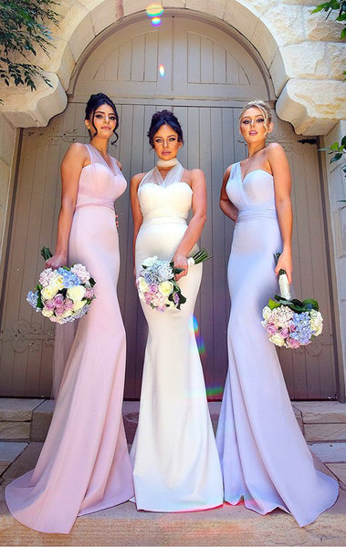 MACloth Convertible Wrap Tie Jersey Long Bridesmaid Dress Pink Mermaid Formal Gown