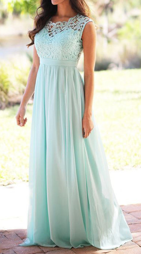 MACloth Lace Chiffon Long Bridesmaid Dress Elegant Simple Pink Prom Gown