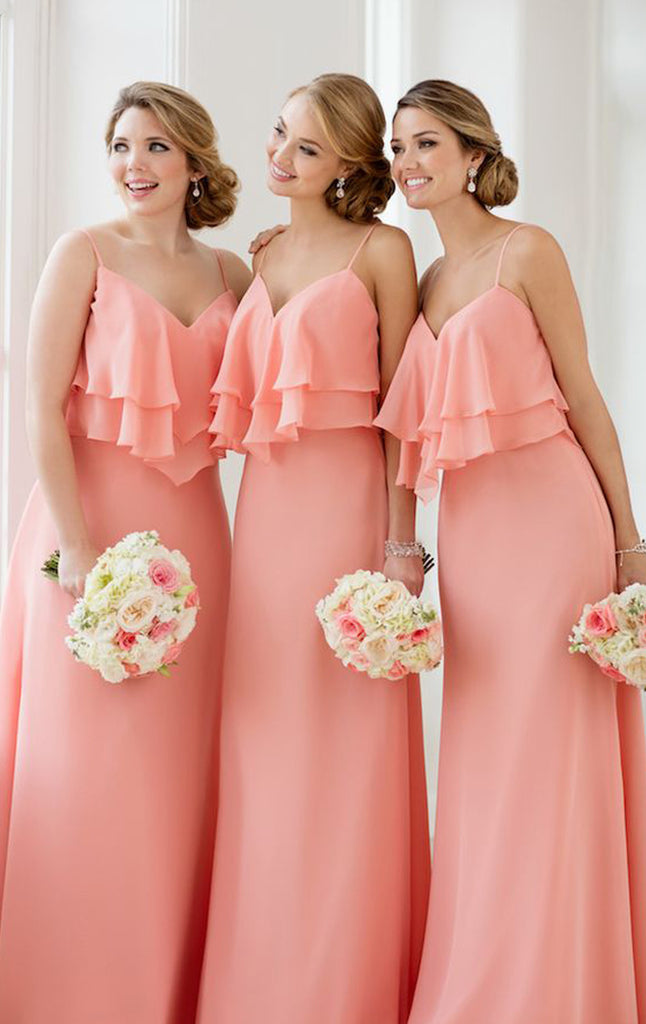 MACloth Straps V Neck Tiered Elegant Long Bridesmaid Dress Simple Chiffon Formal Gown