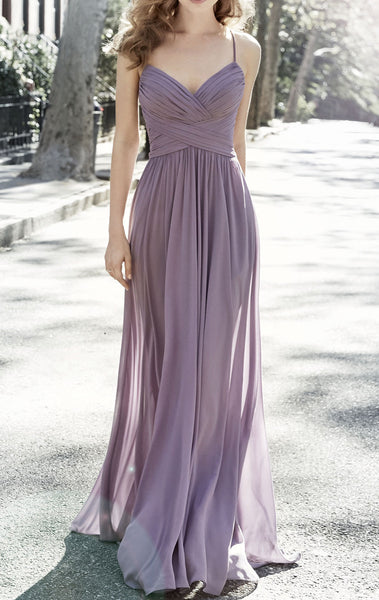 MACloth Spaghetti Straps V Neck Long Bridesmaid Dress Vintage Dusty Lavender Wedding Party Formal Gown