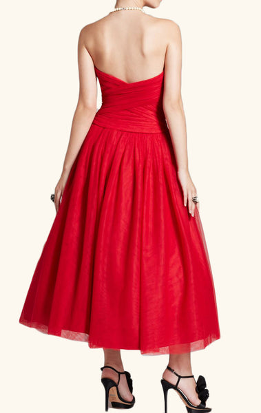 MACloth Strapless Sweetheart Midi Red Cocktail Dress Vintage Tulle Formal Gown