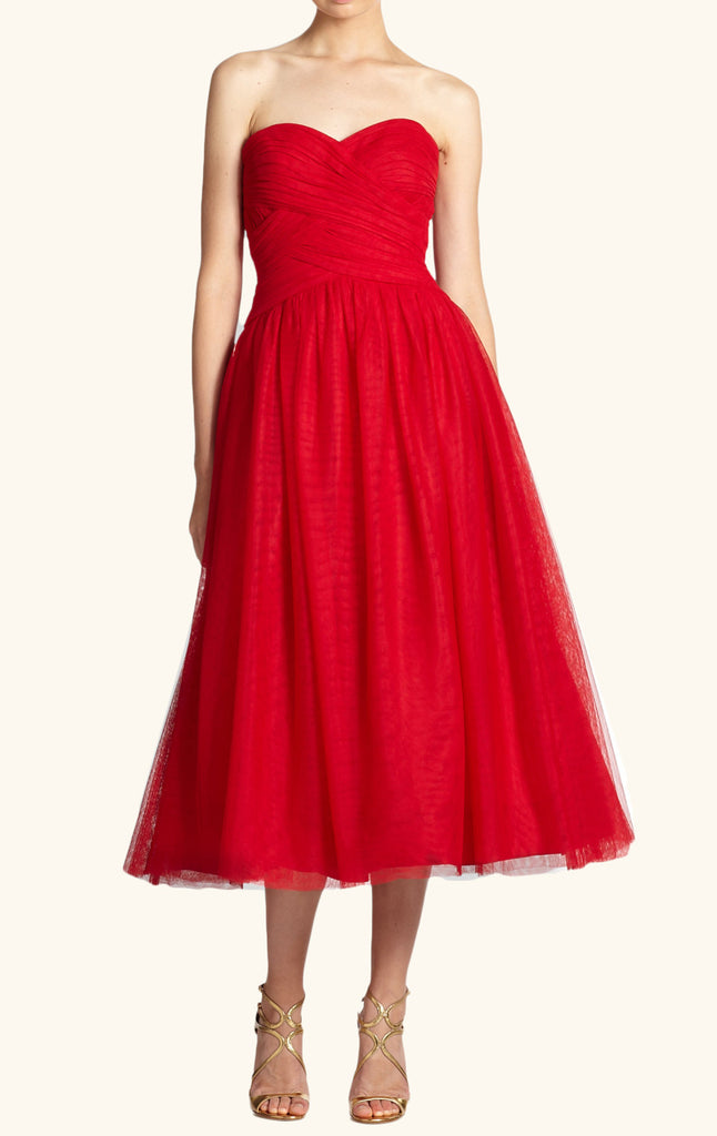 MACloth Strapless Sweetheart Midi Red Cocktail Dress Vintage Tulle For