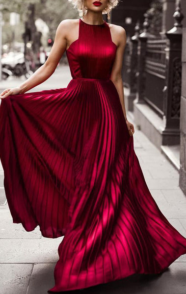 MACloth Halter Chiffon Long Prom Dress Elegant Red Evening Formal Gown