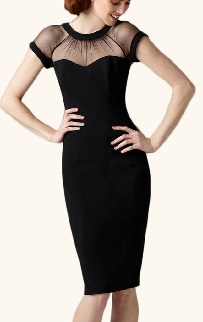 MACloth Cap Sleeves Sheath Cocktail Dress Midi Wedding Party Formal Dress