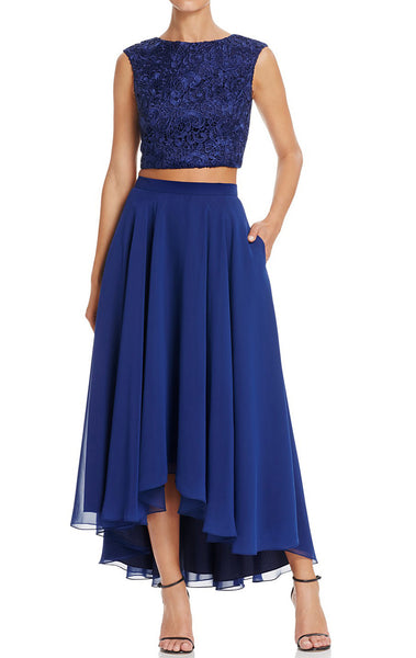 MACloth Two Piece Hi-Lo Lace Chiffon Cocktail Dress Simple Prom Gown