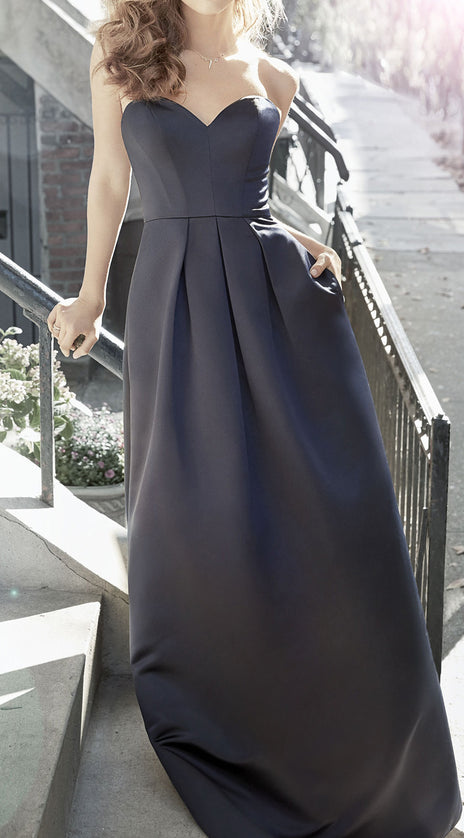 MACloth Elegant Strapless Long Bridesmaid Dress Dark Navy Satin Wedding Party Formal Gown