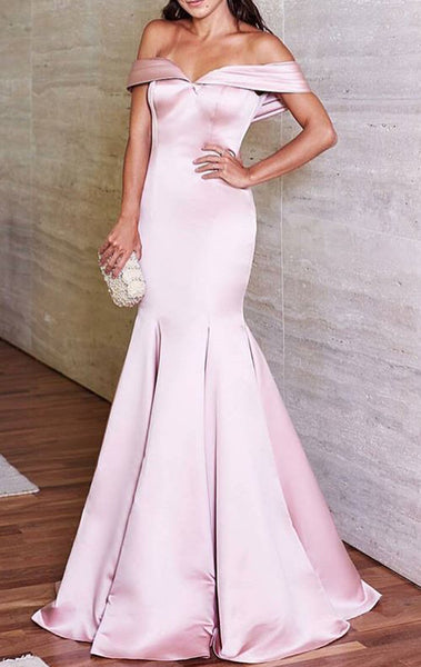 MACloth Mermaid Off Shoulder Satin Prom Dress Elegant Pink Evening Formal Gown