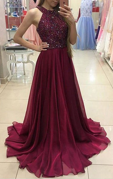 MACloth Halter Crystals Chiffon Long Prom Dress Elegant Burgundy Formal Gown