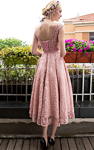 MACloth Cap Sleeves Lace Cocktail Dress Pink Midi Wedding Party Formal Gown