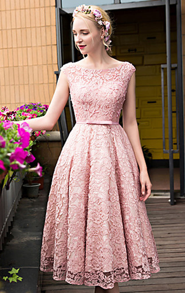 pink lace wedding dress macloth cap sleeves lace cocktail dress pink midi wedding 6585