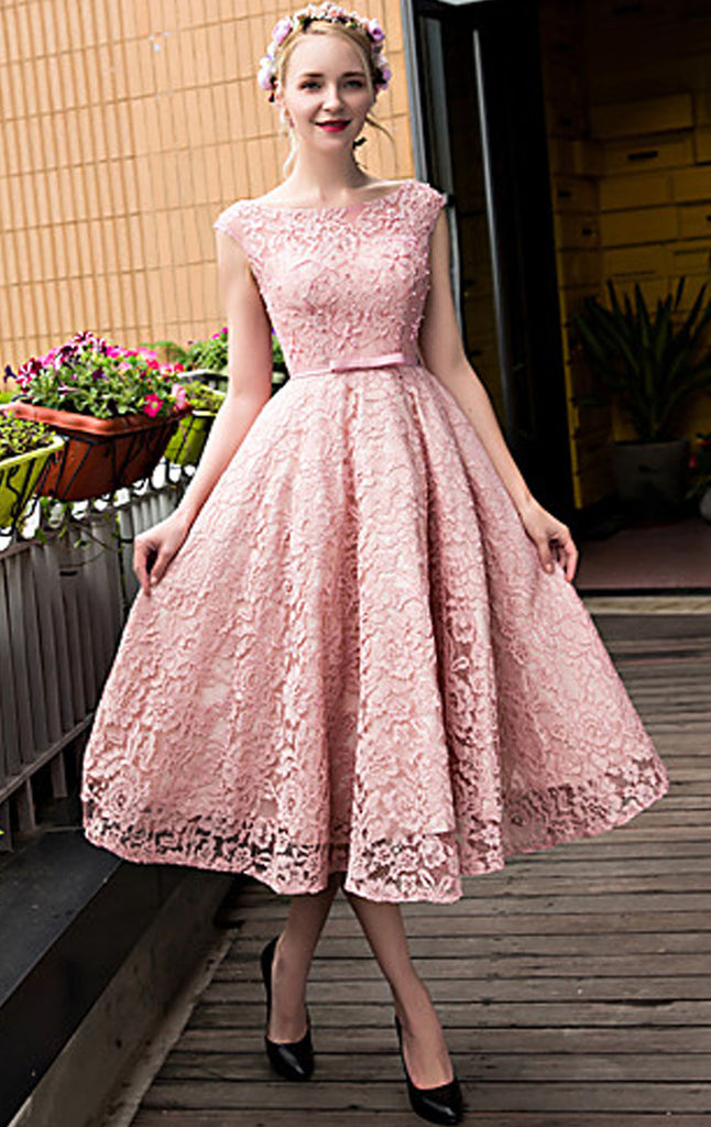 MACloth Cap Sleeves Lace Cocktail Dress Pink Midi Wedding Party Formal