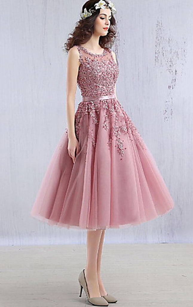 1d400777af MACloth Midi Lace Tulle Cocktail Dress Dusty Pink Wedding Party Formal