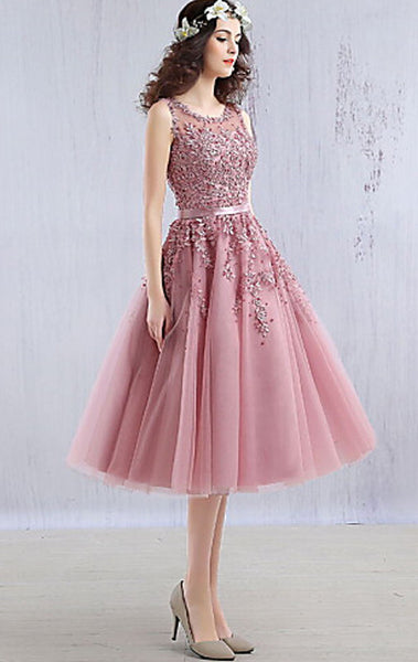 MACloth Midi Lace Tulle Cocktail Dress Dusty Pink Wedding Party Formal Gown