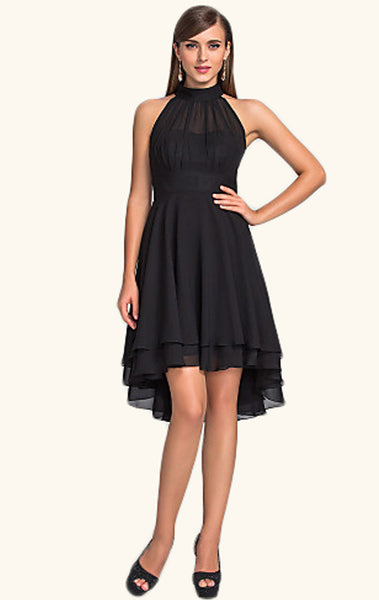 MACloth Halter High Low Chiffon Cocktail Dress Black Wedding Party Formal Gown