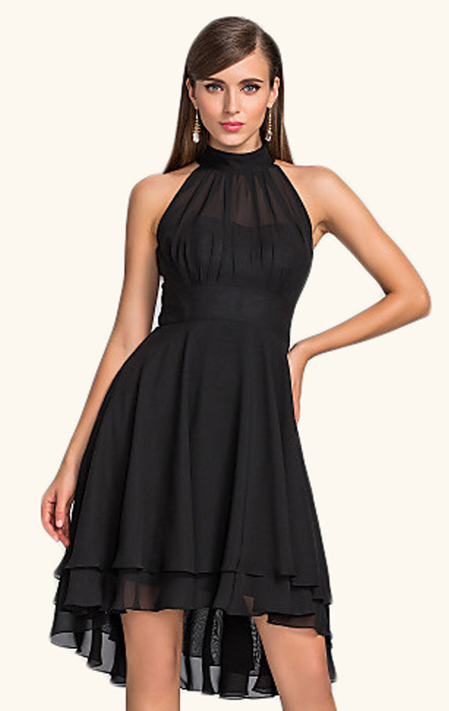 c8d6777f61 MACloth Halter High Low Chiffon Cocktail Dress Black Wedding Party For