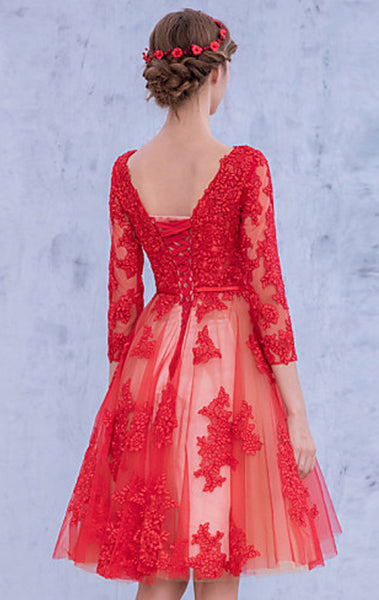MACloth 3/4 Sleeves Lace Cocktail Dress Midi Red Wedding Party Formal Gown