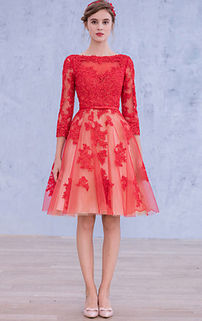 ... MACloth 3 4 Sleeves Lace Cocktail Dress Midi Red Wedding Party Formal  Gown ... 0c2fb55552f9