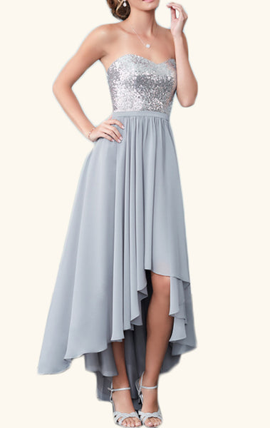 MACloth Strapless High Low Sequin Chiffon Cocktail Dress Silver Wedding Party Formal Gown