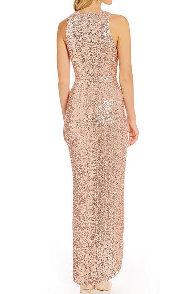 MACloth Straps V Neck Hi Lo Sequin Bridesmaid Dress Rose Gold Formal Gown