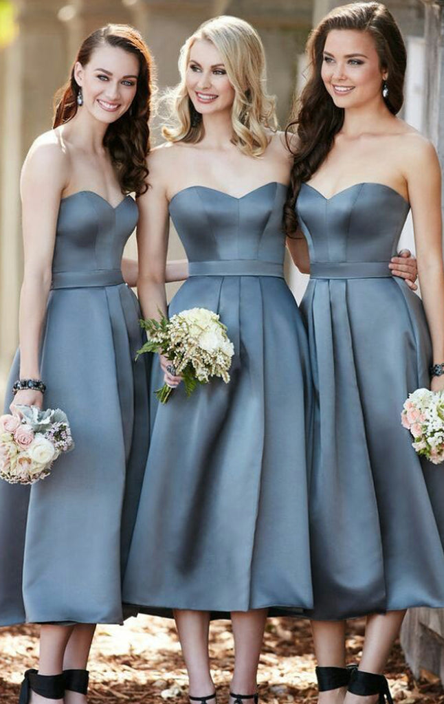MACloth Strapless Sweetheat Satin Midi Cocktail Dress Grey Wedding Bridesmaid Formal Gown