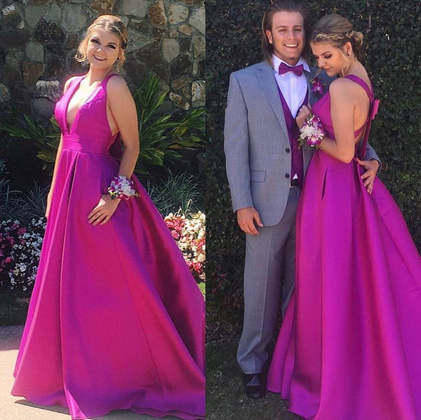 MACloth Deep V Neck Prom Dress Elegant Bow Back Formal Evening Gown