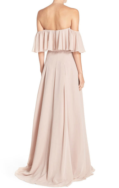 MACloth Off the Shoulder Chiffon Long Bridesmaid Dress Simple Prom Formal Gown