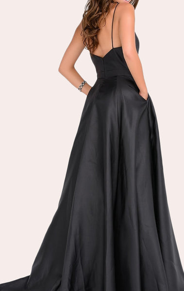MACLoth Deep V Neck Satin Long Prom Dress Elegant Green Wedding Party Formal Gown