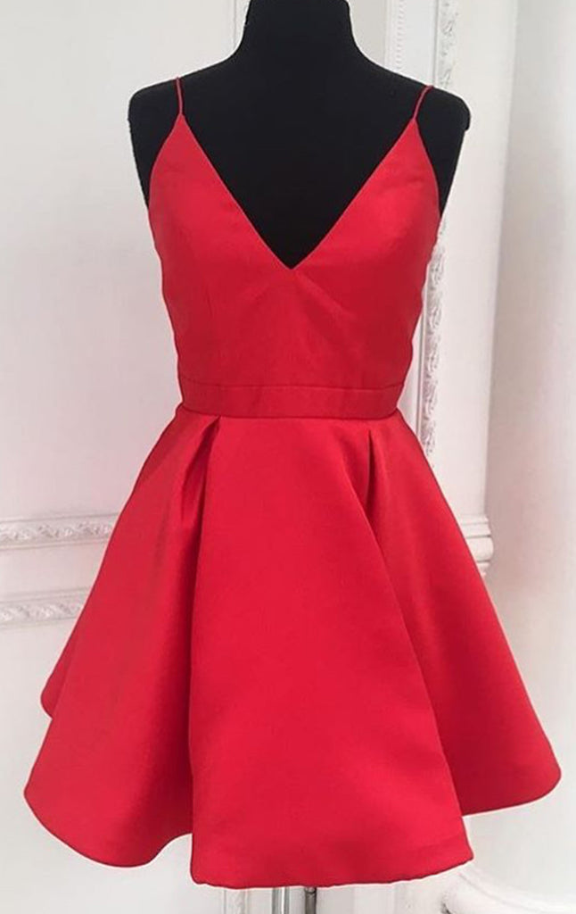 MACLoth Deep V Neck Mini Prom Homecoming Dress Red Cocktail Formal Gown