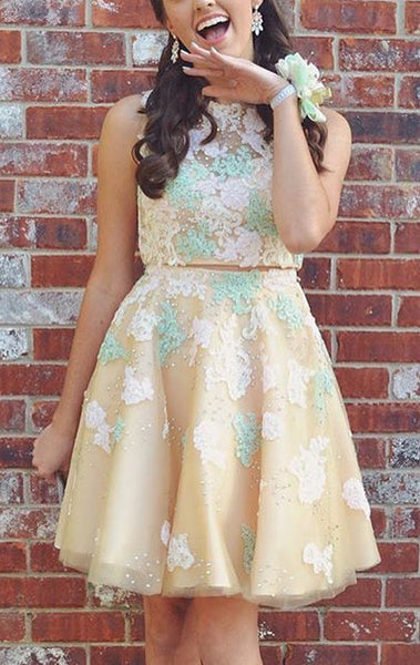 MACloth Two Piece Lace Tulle Prom Homecoming Dress Mini Cocktail Party Formal Gown