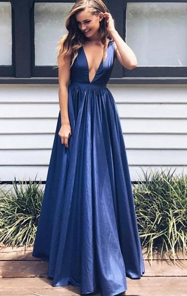MACloth Deep V Neck Taffeta Prom Dress Dark Navy Formal Evening Gown