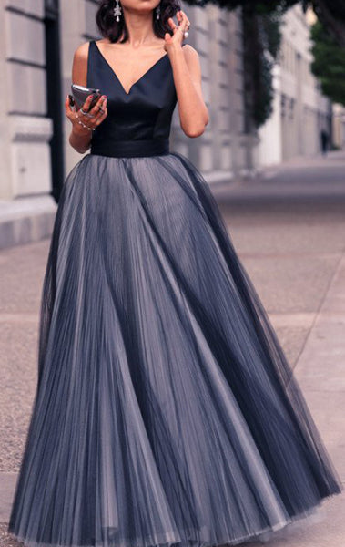 MACloth Straps V neck Dark Navy Prom Dress Ball Gown Tulle Wedding Party Formal Gown