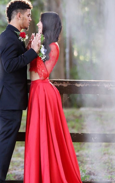 MACloth Two Piece Long Sleeves Lace Taffeta Prom Dress 2017 Red Formal Evening Gown