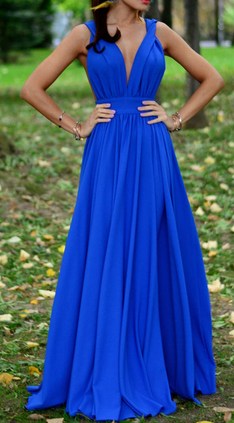 MACloth Deep V Neck Jersey Sexy Prom Dress Royal Blue Formal Evening Gown