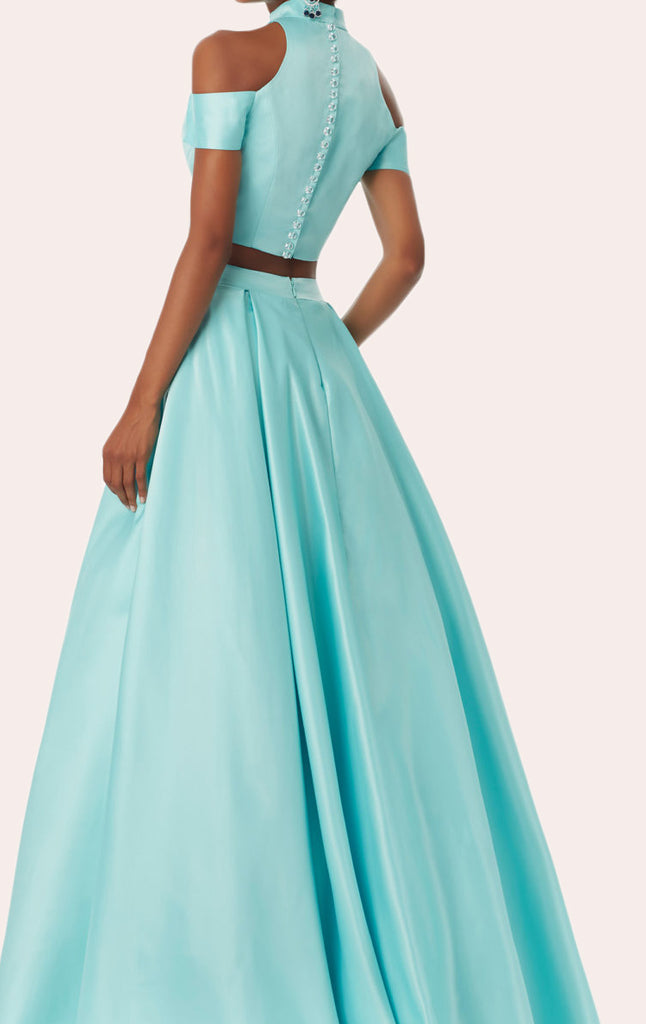 ... MACloth 2 Piece High Neck Satin Pink Prom Dress 2018 New Evening Formal  Gown ...