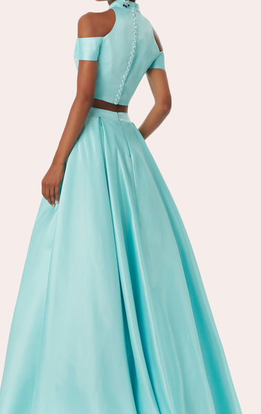 MACloth 2 Piece High Neck Satin Pink Prom Dress 2018 New Evening Formal Gown