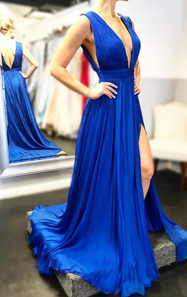 MACloth Deep V Neck Chiffon Long Prom Dress Sexy Formal Evening Gown