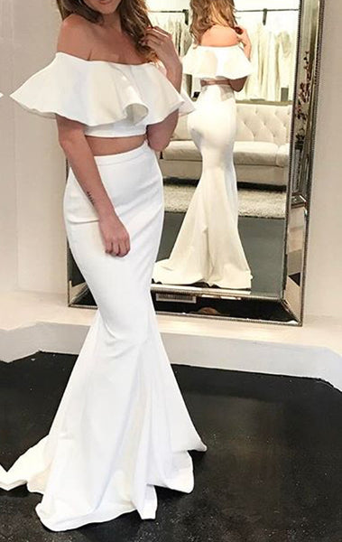 MACloth Mermaid Off Shoulder Two Piece Prom Dress Ivory Formal Evening Gown