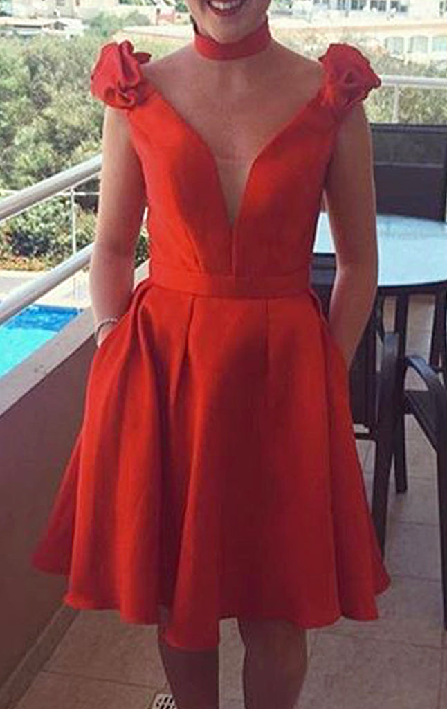 MACloth Deep V Neck Red Cocktail Dress Short Wedding Party Formal Gown
