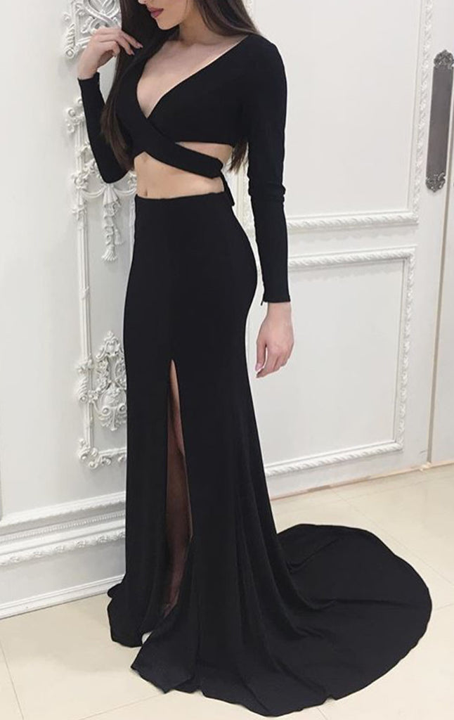 MACloth Two Piece Long Sleeves Jersey Prom Dress Sexy Formal Evening Gown 10428