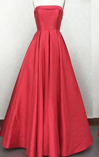 MACloth Strapless Satin Red Prom Dress Silver Wedding Party Formal Gown