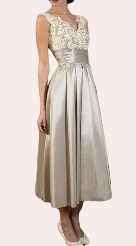 MACloth Straps V neck Lace Satin Midi Mother of the Brides Dress Ivory Formal Gown