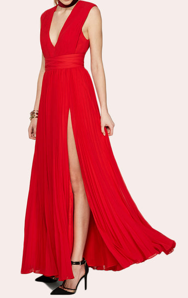 MACloth Deep V Neck Chiffon Red Prom Dress Floor Length Evening Gown