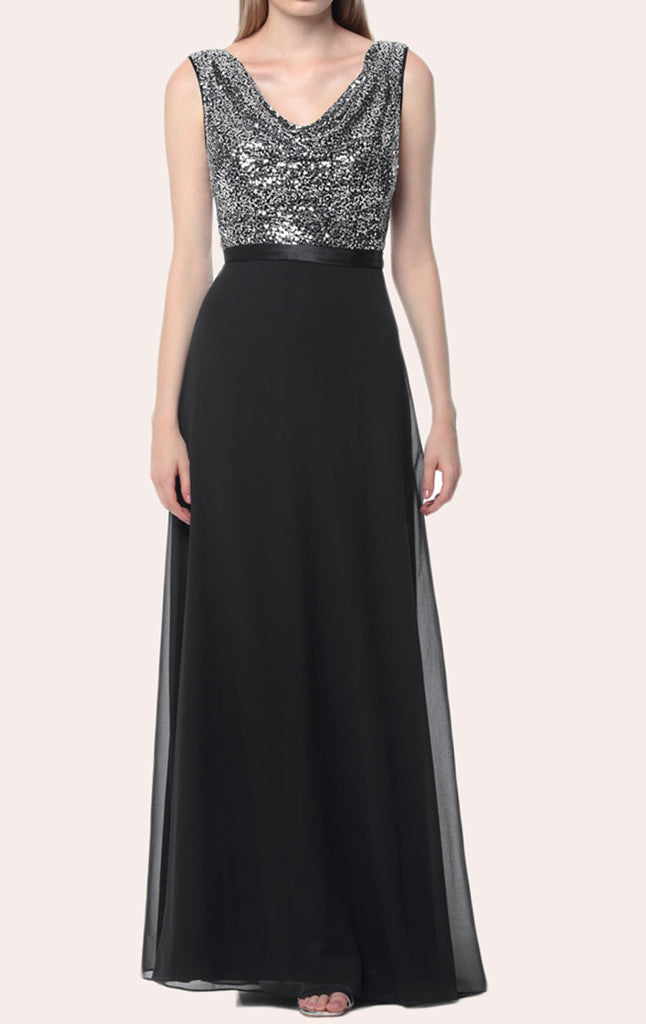MACloth Women A Line Sequin Long Bridesmaid Dress Evening Formal Party Gown (EU32, Negro)