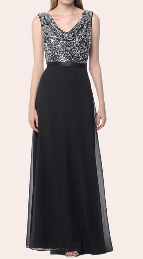 MACloth Cowl Neck Sequin Chiffon Long Bridesmaid Dress Black Formal Gown