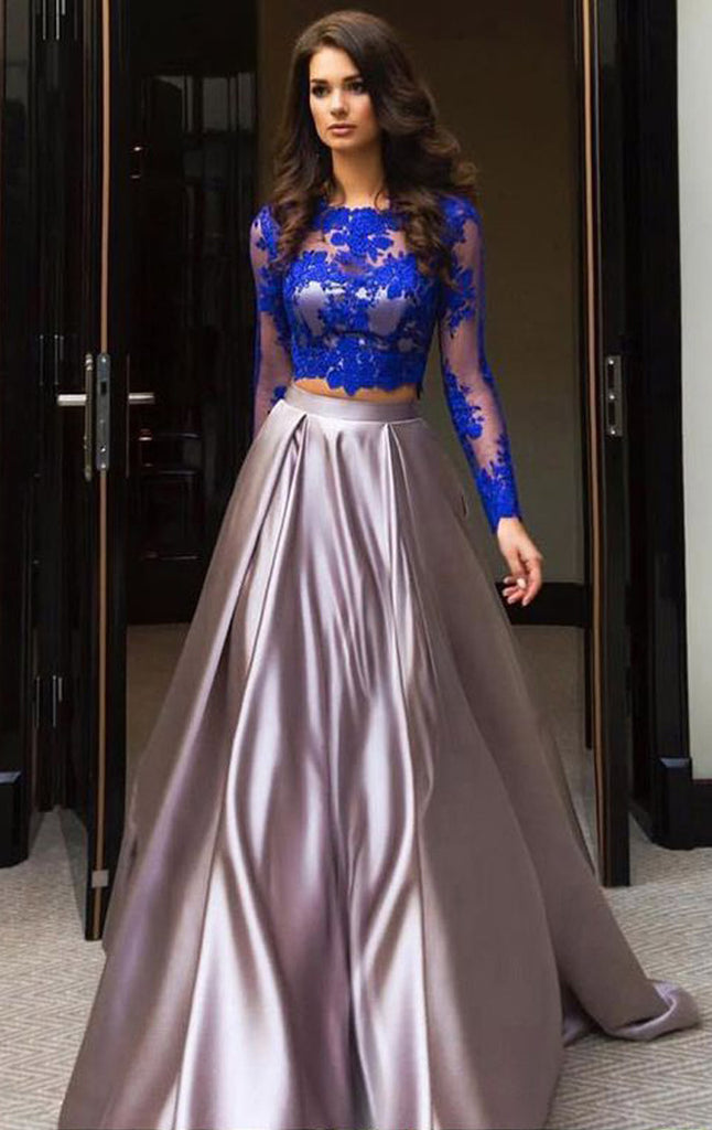 1a6d4df95 MACloth Long Sleeves Lace Satin Prom Dress Royal Blue Formal Evening G