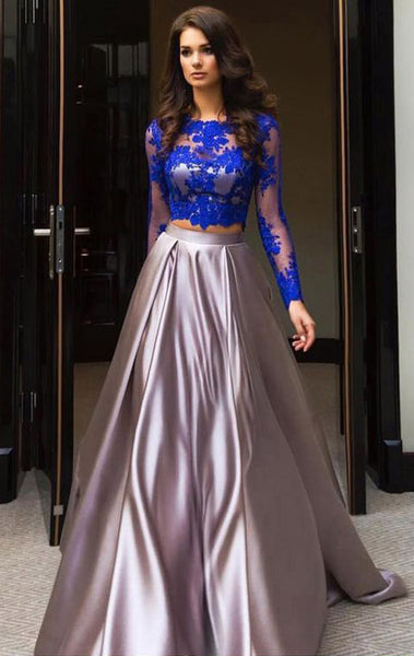 MACloth Long Sleeves Lace Satin Prom Dress Royal Blue Formal Evening Gown