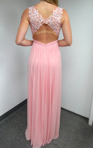 MACloth Straps V Neck Chiffon Lace Long Prom Dress Pink Formal Gown