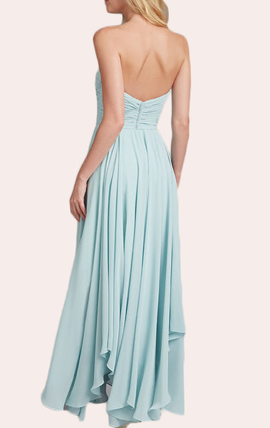 MACloth Strapless Chiffon Tea Length Bridesmaid Dress Champagne Wedding Party Formal Gown
