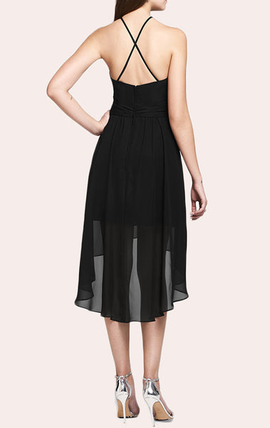 MACloth Halter High Low Chiffon Cocktail Dress Little Black Dress