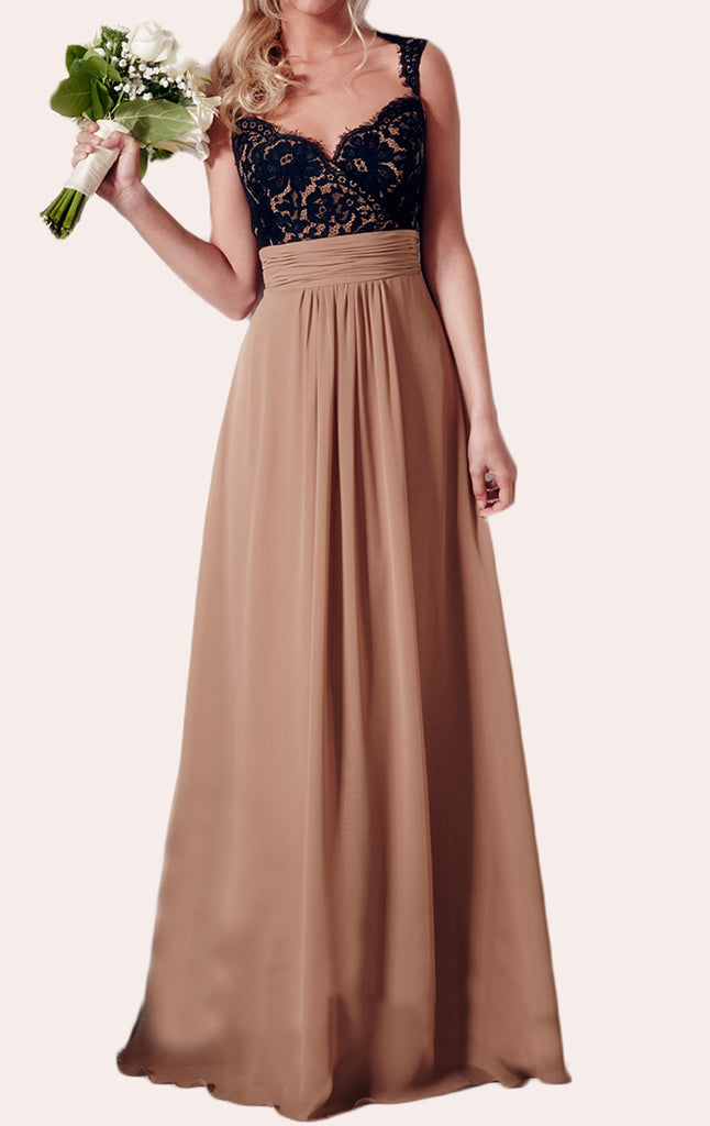 MACloth Lace Chiffon Long Bridesmaid Dress Vintage Simple Prom Gown